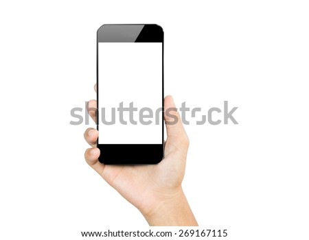 closeup hand hold smartphone mobile isolated on white - stock photo