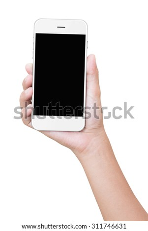 closeup hand holding phone isolated with clipping path - stock photo
