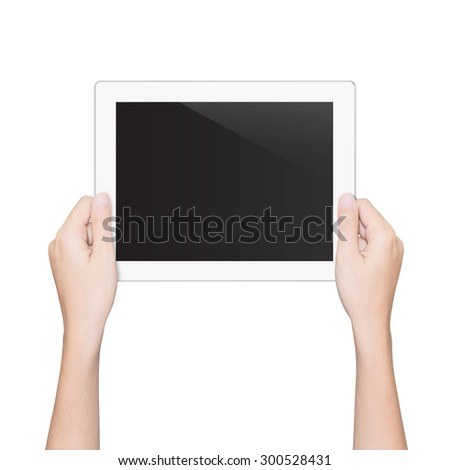 closeup hand holding tablet isolated white clipping path inside - stock photo