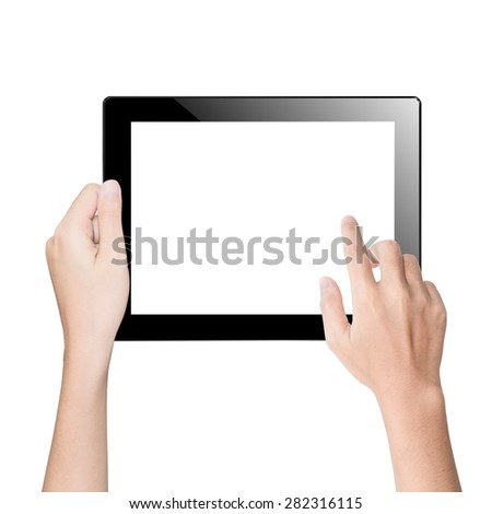closeup hand using tablet isolated white clipping path inside - stock photo