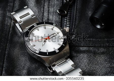 closeup 3 hands luxury men's watch - stock photo