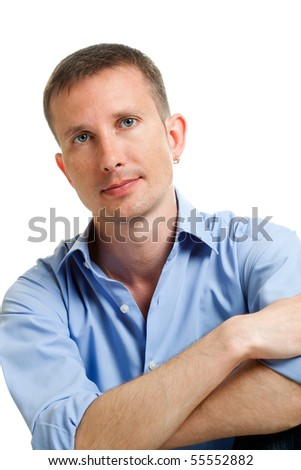 closeup handsome man portrait over white - stock photo