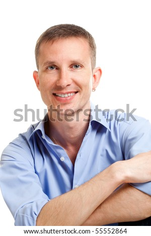 closeup handsome smiling man portrait over white - stock photo