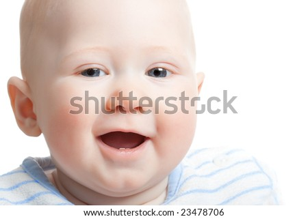 closeup happy baby face portrait, copy space for the text