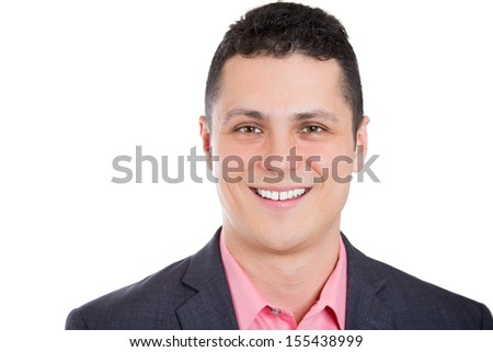 Closeup head shot portrait of a charming man in a business suit, isolated on a white background