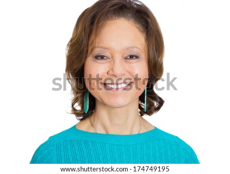 Closeup head shot portrait of happy jovial smiling mirthful amiable beautiful successful senior mature woman in aqua sweater, isolated on white background. Positive emotion facial expression feelings. - stock photo