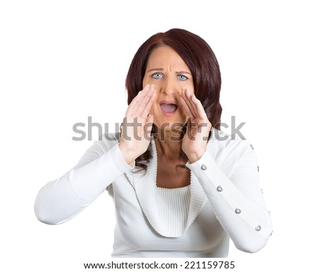 closeup headshot portrait angry woman screaming isolated on white background. Negative human face expressions, emotions, feelings, attitude, body language, life perception - stock photo