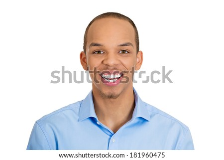 Closeup headshot portrait of handsome, successful, happy, young business man, confident grad student, entrepreneur, isolated white background. Positive face expressions, emotions, feelings, attitude. - stock photo