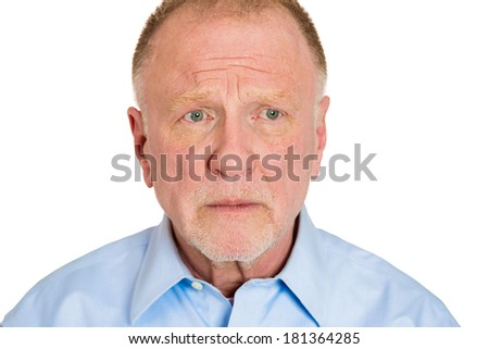 Closeup headshot portrait of pissed off, angry, grumpy business senior mature man with bad attitude, looking away, isolated on white background. Negative human emotions, facial expression, feeling - stock photo