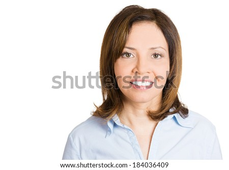 Closeup headshot portrait successful, happy, young business woman, confident grad student, entrepreneur, isolated white background. Positive human face expressions, emotions, feelings, attitude. - stock photo