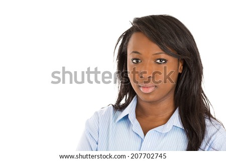 Closeup headshot portrait successful happy, young business woman, confident grad student entrepreneur isolated white background. Positive human face expression emotion feeling attitude life perception - stock photo