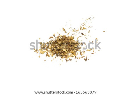 closeup heap of snuff used for rolling cigarettes - stock photo