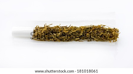 closeup heap of tobacco used for rolling cigarettes - stock photo