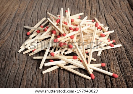 closeup heap of wooden matches - stock photo