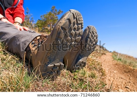 closeup hiker feet - stock photo