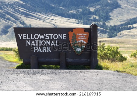 Closeup horizontal image of Yellowstone National Park sign at the north entrance in Montana  - stock photo