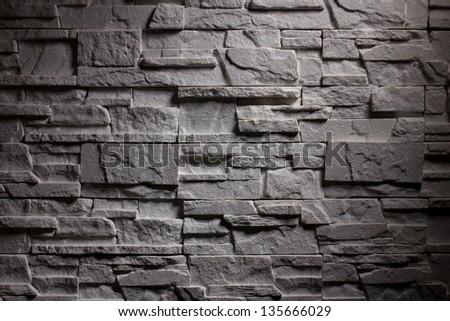 closeup horizontal lighting brick wall - stock photo
