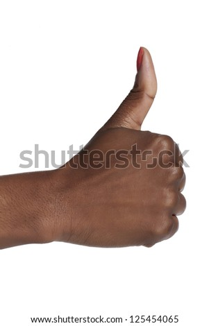 Closeup human hand with thumbs up