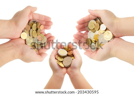closeup human's hands holding world coins isolated on white background, family planing, insurance and saving money concepts - stock photo