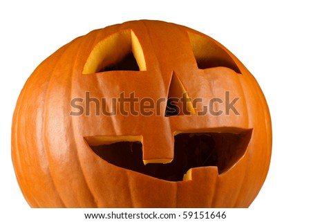 Closeup image of a carved happy pumpkin on a white background. - stock photo