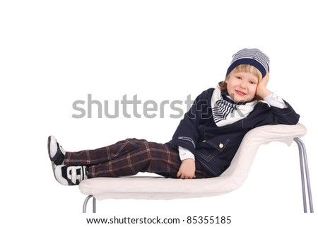 closeup image of a cute little child in the warm clothes - stock photo