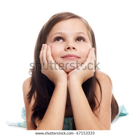 closeup image of a dreaming beautiful little girl - stock photo