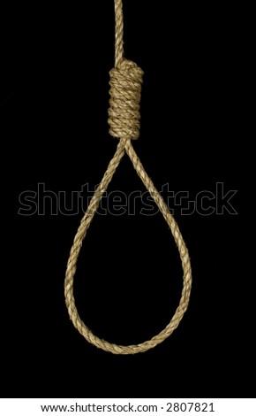 Closeup image of a hanging noose. - stock photo