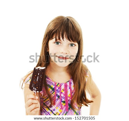 Closeup image of a little girl with ice cream. Isolated on white background  - stock photo