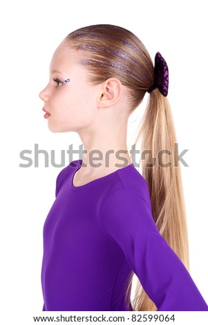 closeup image of a pretty blond teenage girl - stock photo