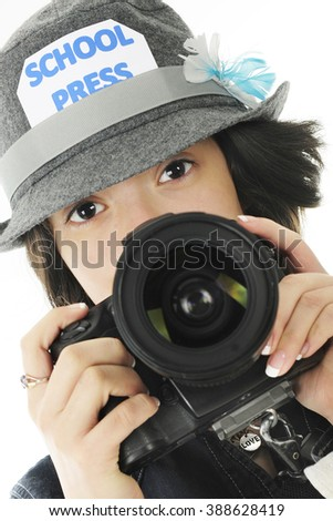 Closeup image of a pretty young teen ready to take photos for her school yearbook.  On a white background. - stock photo