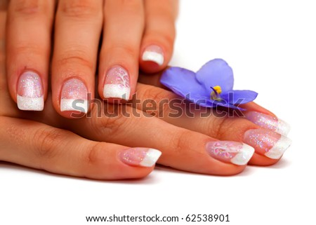 Closeup image of beautiful nails and woman fingers - stock photo