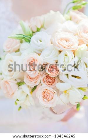 closeup image of beautiful wedding bouquet - stock photo