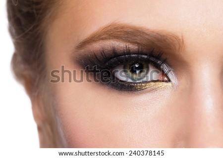 Closeup image of beautiful woman eye with fashion makeup. - stock photo