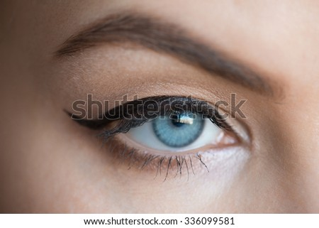Closeup image of beautiful woman eye with fashion makeup with eyeliner - stock photo