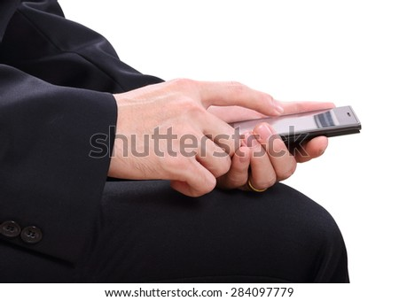 closeup image of business man holding mobile phone