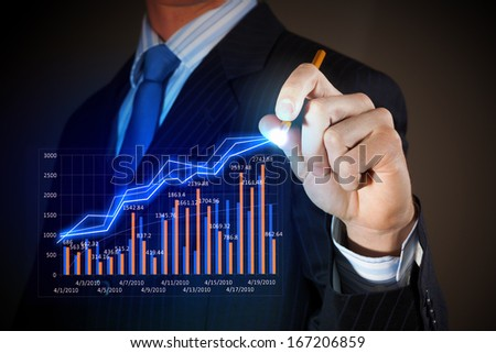Closeup image of businessman drawing 3d graphics - stock photo