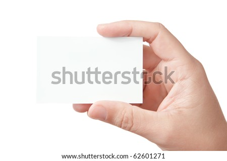 Closeup image of businessman's hand holding blank paper business card for your message (copy space), isolated on white background - stock photo