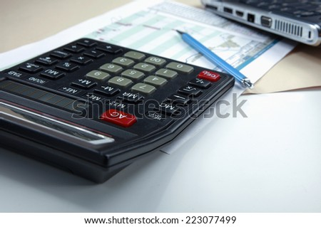Closeup image of calculator keyboard.
