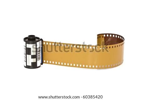 Closeup image of camera film  (Isolated on white background) - stock photo