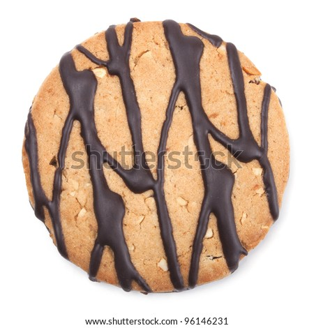 Closeup image of chocolate cookie isolated on a white background - stock photo