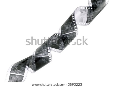 Closeup image of curling black and white 35mm film - stock photo