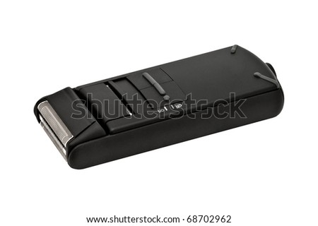 Closeup image of electric shaver, isolated on white background