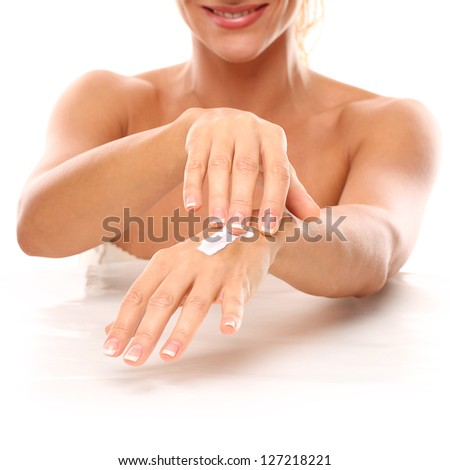 Closeup image of hands in SPA iolated over white background - stock photo