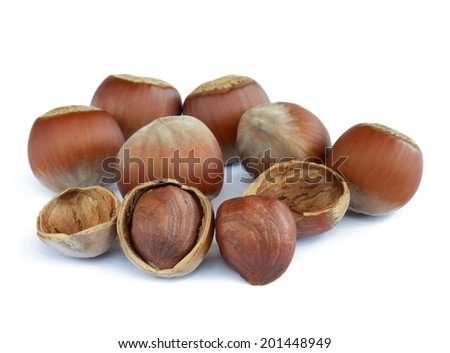 Closeup image of Hazelnuts Isolated on the White Background