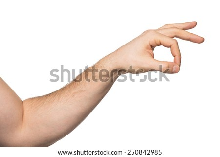 Closeup image of male hand with forefinger and thumb put together. Isolated on white background - stock photo