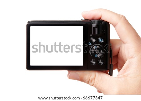 Closeup image of modern compact digital photo camera, held in hand, isolated on white background, with copy space for your picture or text - stock photo
