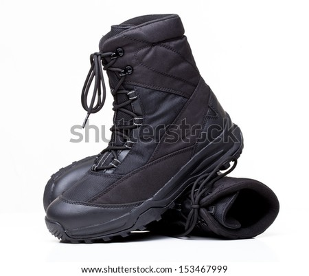 closeup image of modern snow boots - stock photo