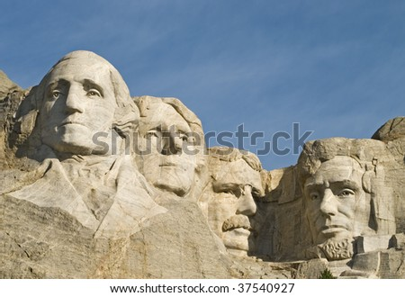 Closeup image of Mt Rushmore showing sculpture details. - stock photo