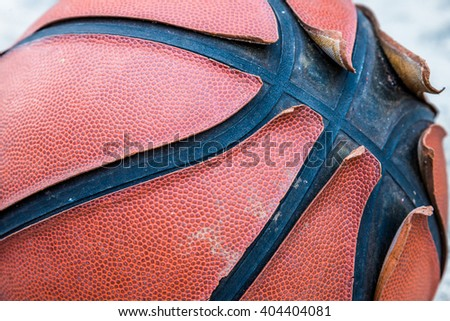 Closeup image of old damage basketball
