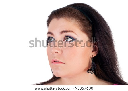 closeup image of the beautiful young girl looking up - stock photo